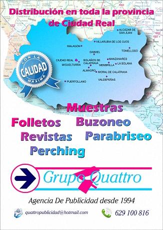 Muestras, Folletos, Buzoneo, Revistas, Parabriseo, Perching - Grupo Quattro Publicidad - 629 100 816